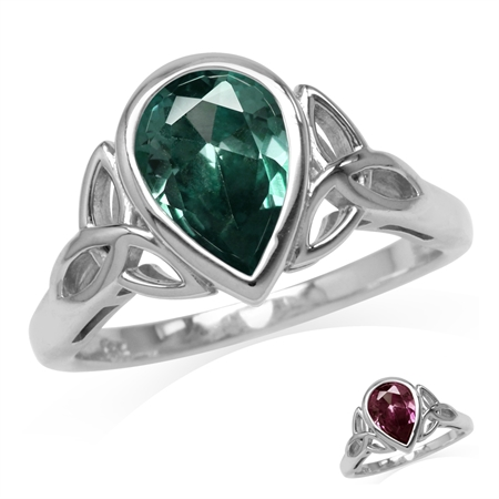 10x7MM Pear Shape Simulated Color Change Alexandrite 925 Sterling Silver Triquetra Celtic Knot Ring