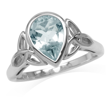 1.43ct. 10x7MM Genuine Pear Shape Blue Aquamarine 925 Sterling Silver Triquetra Celtic Knot Ring