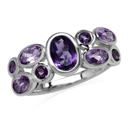 Natural African Amethyst White Gold Plated 925 Sterling Silver Bezel Set Cluster Ring
