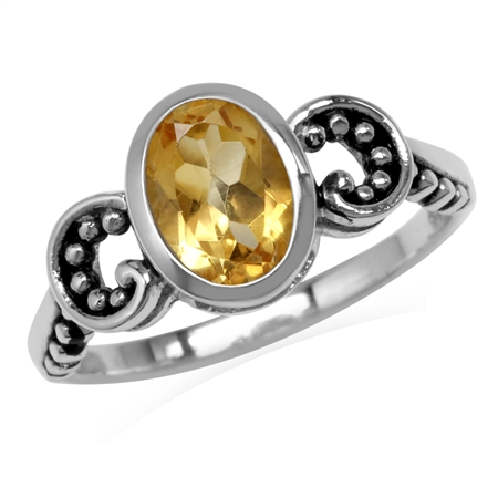 1.21ct. 8x6MM Natural Oval Shape Citrine 925 Sterling Silver Bali/Balinese Style Solitaire Ring