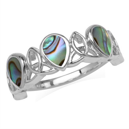3-Stone Pear Shape Abalone/Paua Shell Inlay 925 Sterling Silver Triquetra Celtic Knot Ring