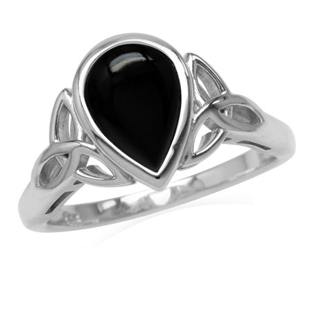 10x7MM Pear Created Black Onyx White Gold Plated 925 Sterling Silver Triquetra Celtic Knot Ring