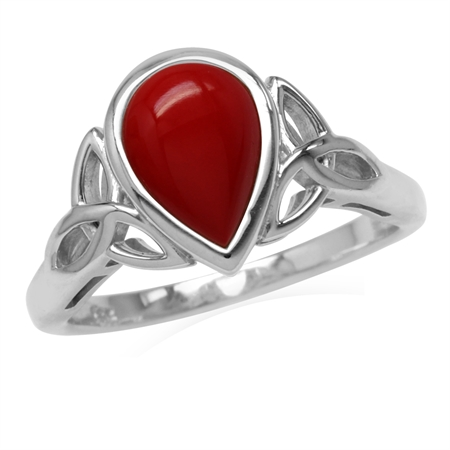 10x7MM Pear Shape Created Red Coral White Gold Plated 925 Sterling Silver Triquetra Celtic Knot Ring