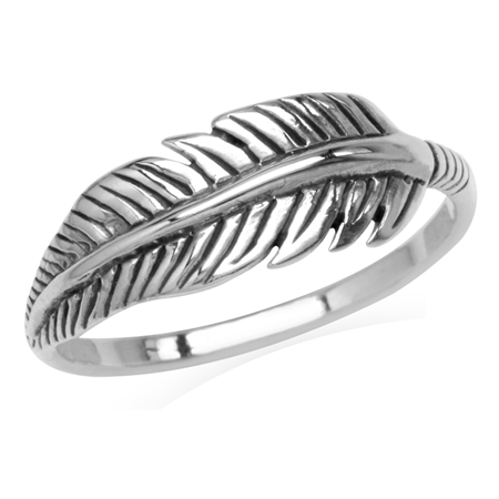 925 Sterling Silver Feather Fashion Casual Teens/Girls Ring