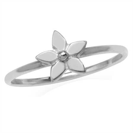 Petite 925 Sterling Silver Flower Casual Teens/Girls Ring