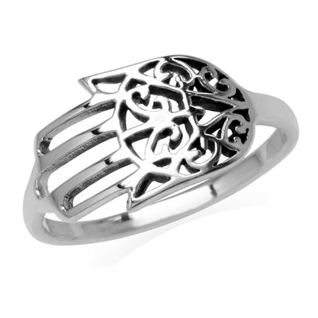 925 Sterling Silver Filigree Hamsa Hand Ring