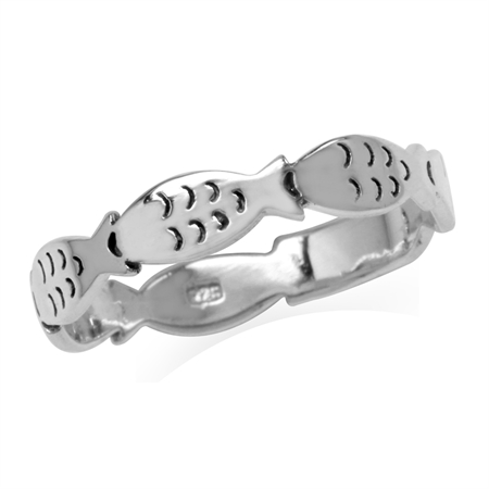 Petite 925 Sterling Silver Fish Casual Teens/Girls Ring