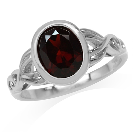 2.81ct. 10x8MM Natural Oval Shape Garnet White Gold Plated 925 Sterling Silver Celtic Knot Ring