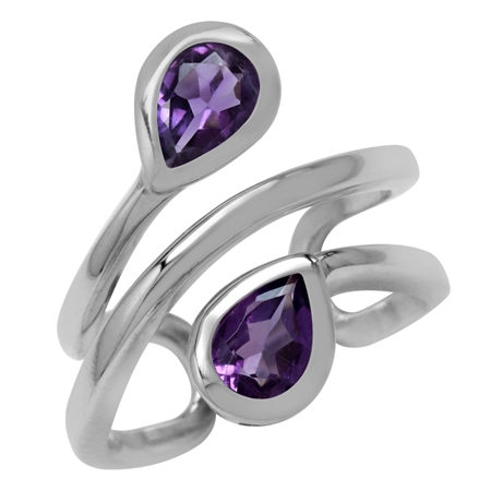 1.24ct. Pear Natural African Amethyst White Gold Plated 925 Sterling Silver Double Line Cuff Ring
