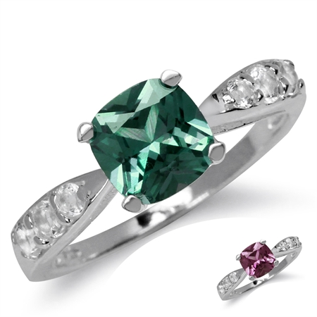7MM Cushion Shape Simulated Color Change Alexandrite & White CZ 925 Sterling Silver Engagement Ring