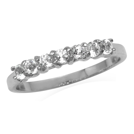 Petite Genuine White Topaz 925 Sterling Silver Journey Ring