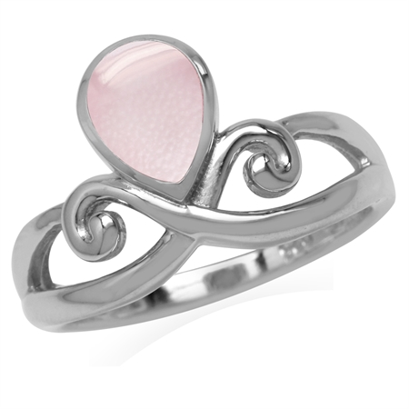 Pear Shape Pink Mother Of Pearl White Gold Plated 925 Sterling Silver Swirl & Spiral Ring
