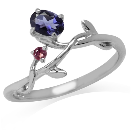 Natural Iolite & Rhodolite Garnet White Gold Plated 925 Sterling Silver Vine Leaf Ring