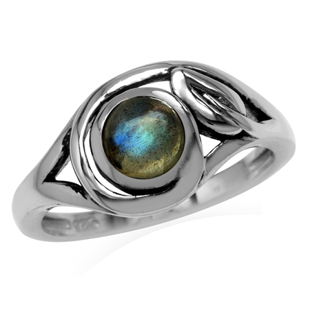 6MM Round Shape Labradorite 925 Sterling Silver Leaf Vintage Inspired Ring