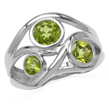 1.79ct. 3-Stone Natural Peridot White Gold Plated 925 Sterling Silver Ribbon Weave Ring