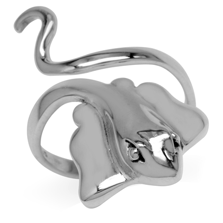 925 Sterling Silver Stingray Fish Fashion Casual Wide Front Adj. Ring