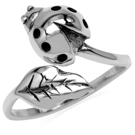 925 Sterling Silver Ladybug & Leaf Casual Teens/Girls Ring
