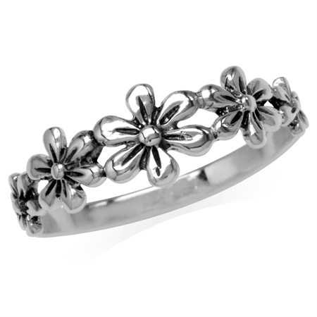 3-Flower 925 Sterling Silver Casual Teens/Girls Ring