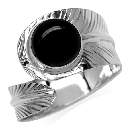10MM Created Round Shape Black Onyx White Gold Plated 925 Sterling Silver Bypass Banana Leaf Ring