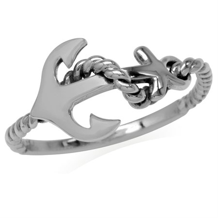 925 Silver Sterling Anchor & Rope Marine Sailor Fashion Casual Ring