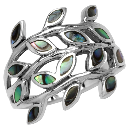 Abalone/Paua Shell Inlay 925 Sterling Silver Filigree Leaf Ring