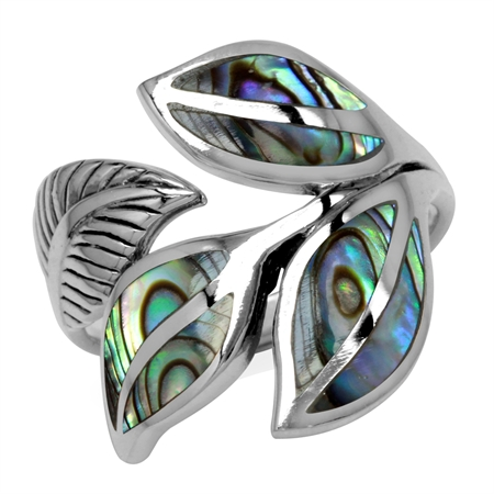 Abalone/Paua Shell Inlay 925 Sterling Silver Bypass Leaf Ring