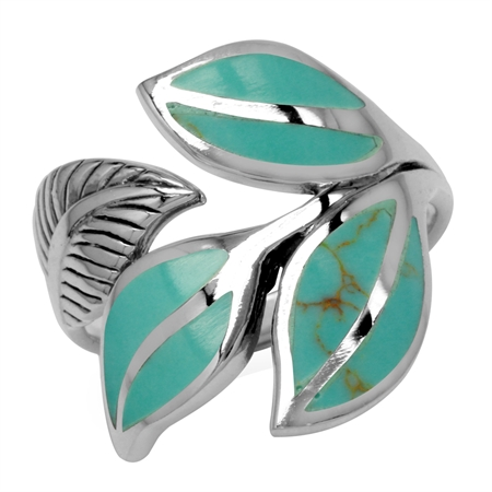 Created Green Turquoise Inlay 925 Sterling Silver Bypass Leaf Ring