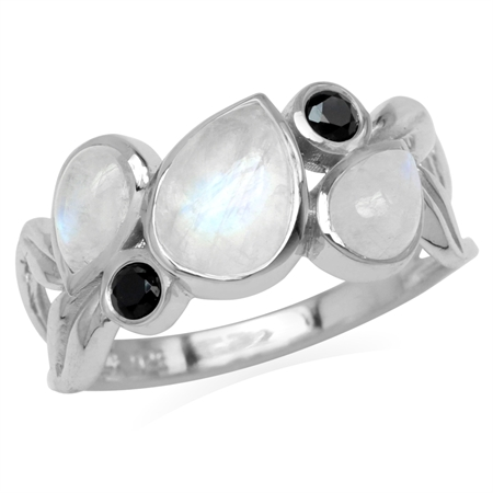 Natural Moonstone & Black Spinel 925 Sterling Silver Leaf Inpired Ring