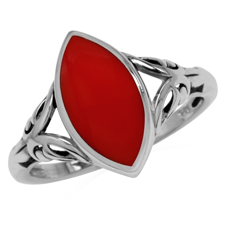 14x7MM Created Marquise Shape Red Coral 925 Sterling Silver Filigree Solitaire Ring