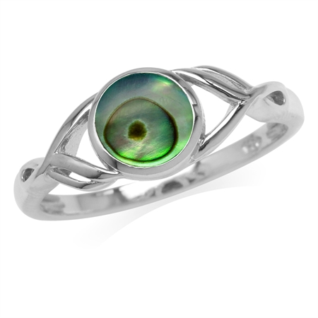 7MM Round Shape Abalone/Paua Shell White Gold Plated 925 Sterling Silver Casual Solitaire Ring