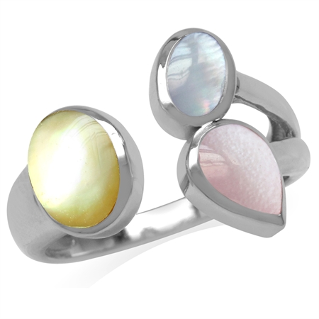 Yellow, Pink & Blue Mother Of Pearl 925 Sterling Silver Cluster Cocktail Open Front Ring
