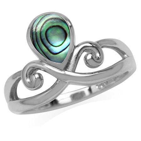 Pear Shape Abalone/Paua Shell Inlay White Gold Plated 925 Sterling Silver Swirl & Spiral Ring