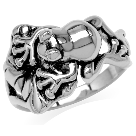925 Sterling Silver Lotus Leaf & Leaping Frog Fashion Casual Ring