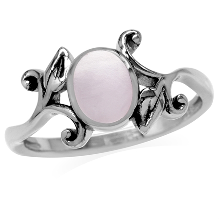8x6MM Oval Shape Pink Mother Of Pearl 925 Sterling Silver Leaf Vintage Inspired Ring