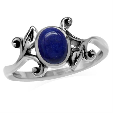 8x6MM Genuine Oval Shape Blue Lapis 925 Sterling Silver Leaf Vintage Inspired Ring