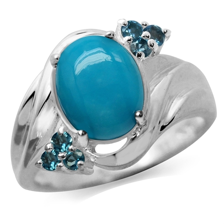 10x8MM Genuine Oval Shape Arizona Turquoise & London Blue Topaz 925 Sterling Silver Glamorous Ring