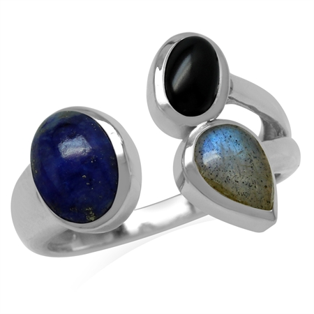 Genuine Blue Lapis, Black Onyx & Labradorite 925 Sterling Silver Cluster Cocktail Open Front Ring
