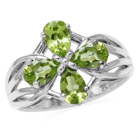 1.68ct. 6x4MM Natural Pear Shape Peridot White Gold Plated 925 Sterling Silver Filigree Flower Ring
