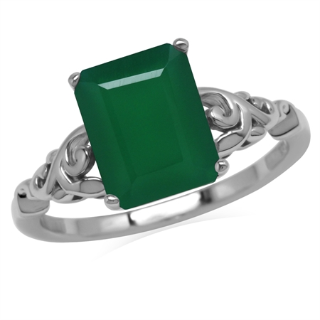 3.29ct. 10x8MM Octagon Natural Emerald Green Agate 925 Sterling Silver Filigree Leaf Solitaire Ring