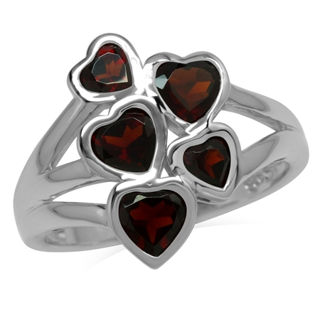 2.17ct. 5-Stone Natural Garnet White Gold Plated 925 Sterling Silver Love Heart Cluster Ring