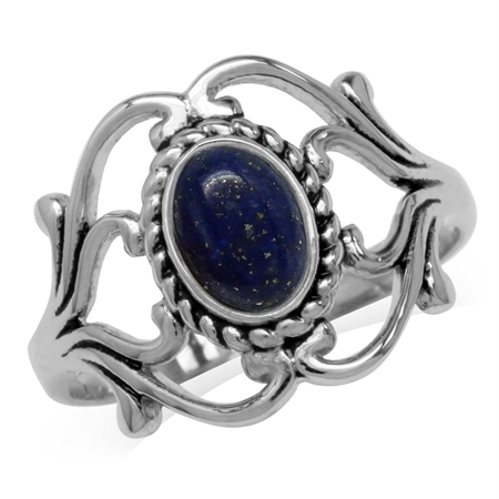 Genuine Blue Lapis 925 Sterling Silver Victorian Style Rope Ring