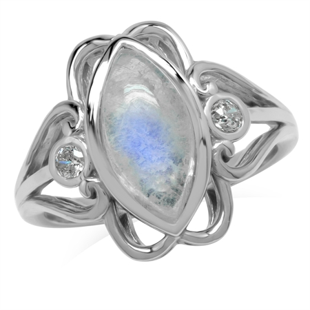 14x7MM Natural Marquise Shape Moonstone 925 Sterling Silver Victorian Swirl Style Ring