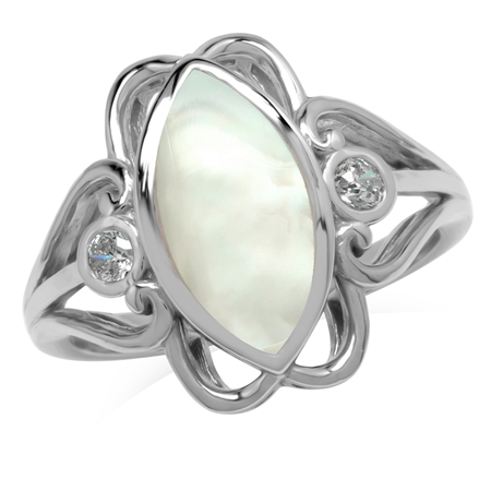 14x7MM Marquise Shape White Mother Of Pearl 925 Sterling Silver Victorian Swirl Style Ring