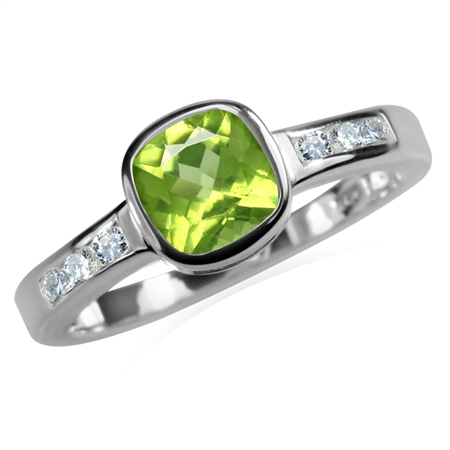 1.06ct. Natural Peridot & White Topaz 925 Sterling Silver Engagement Ring