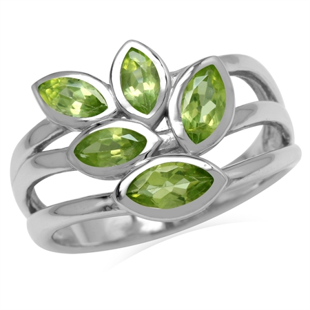 1.59ct. 5-Stone Natural Marquise Shape Peridot 925 Sterling Silver 3-Line Leaf Ring
