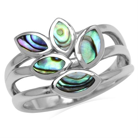 5-Stone Marquise Shape Abalone/Paua Shell Inlay 925 Sterling Silver 3-Line Leaf Ring