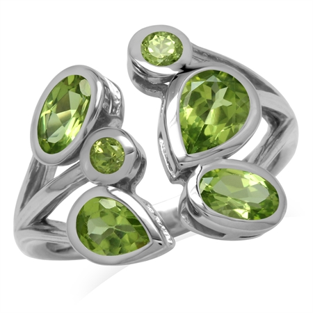 2.3ct. Natural Peridot 925 Sterling Silver Cluster Cocktail Open Front Ring