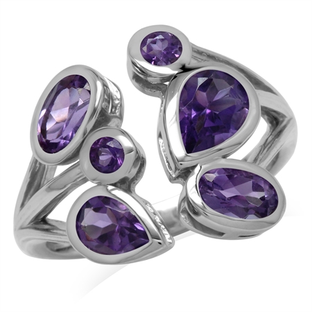 1.93ct. Natural African Amethyst 925 Sterling Silver Cluster Cocktail Open Front Ring