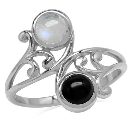 5MM Natural Round Shape Moonstone & Onyx 925 Sterling Silver Leaf & Swirl Style Bypass Ring