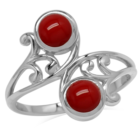 5MM Created Round Shape Red Coral 925 Sterling Silver Leaf & Swirl Style Bypass Ring